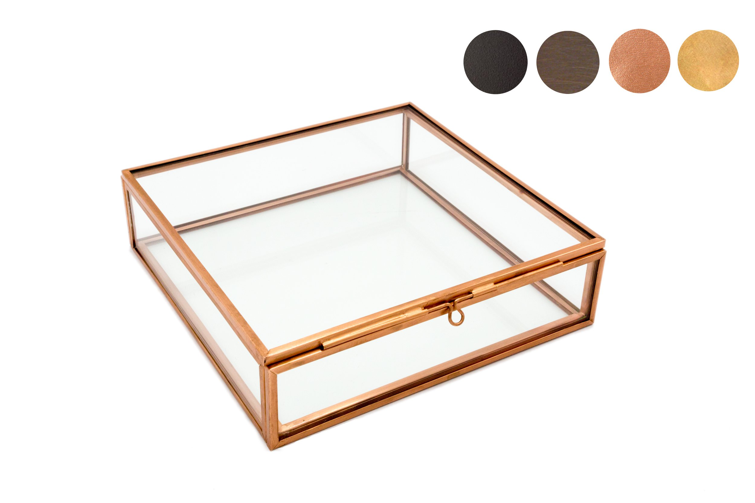 Photographer Boxes 5x5 Glass Photo Box, Proof Box, Shadow Box, Card Box, Jewelry Box, Rose Gold Glass Box