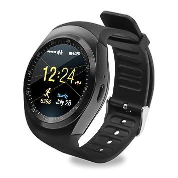 Y1 redondo Bluetooth reloj inteligente, pantalla táctil reloj teléfono celular con ranura SIM TF tarjeta mando a distancia SmartWatch podómetro Monitor de ...