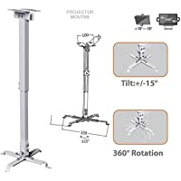 ULTIMA Universal Projector Ceiling and Wall Mount Bracket (White, 2ft)