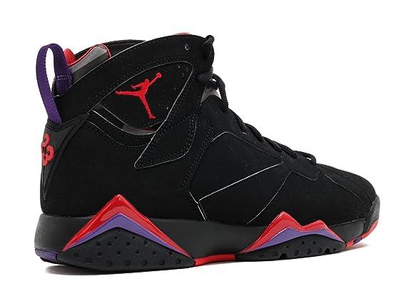 quality design 74f9c 8e58f Amazon.com  Nike Mens Air Jordan 7 Retro Raptor Black True Red-Dark Charcoal-Purple  Leather Basketball Shoes Size 10  Sports   Outdoors