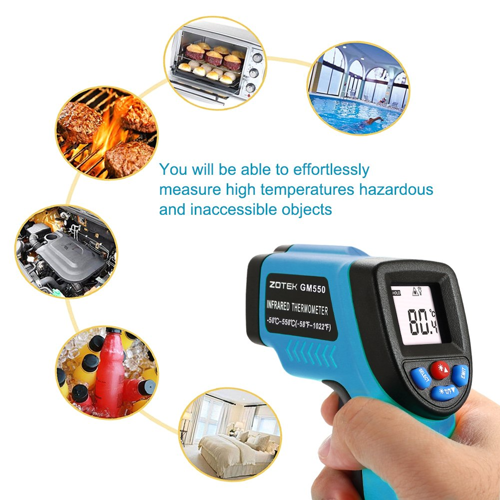 ZOTEK GM550 Professional Non-Contact Laser Temperature Tester Gun Measuring Range 50 to 550°C(-58 to 1022°F) with LCD Display 2pcs AAA Battery Included Blue MeterMall Digital Infrared Thermometer