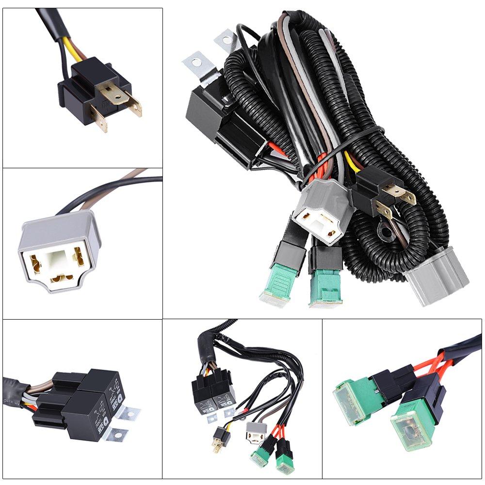 Anxingo Dual High Low Beam Headlight Relay Wiring Harness H4 9003 With High Heat Ceramic Plugs 4333013198