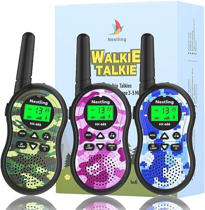 Nestling Walkie Talkie Niños, Camuflaje al Aire Libre 8 Canales LCD Pantalla Linterna Incorporado VOX, Rango de 3KM, 10 Tonos de Llamada Walkie Talkie Niñas Juguete Regalo (3pcs Camuflaje): Amazon.es: Electrónica