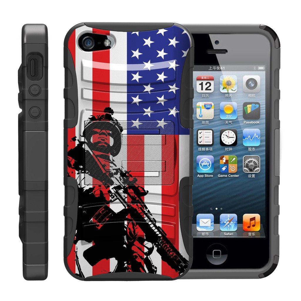 TurtleArmor | Compatible for Apple iPhone SE Case | iPhone 5/5s Case [Hyper Shock] Rugged Hybrid Hard Shell Kickstand Fitted Holster Clip Military War Robot Android Design - American Soldier