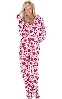 ea750aaacf PajamaGram Fleece Onesies for Women - Hoodie Footie Pajamas Adult