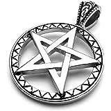 mendino Unisexe puissant bord motif pentagramme pentacle pendentif en acier inoxydable (Argent) avec chaîne 55,9cm cm