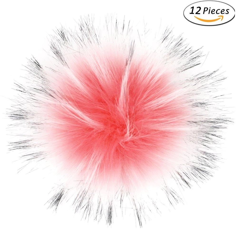 Dr Nezix DIY Mix Colors Fuzzy Pom Pom Faux Fox Fur Pompom Ball for Hats Beanies Bag Hatball-M3-Blue12P