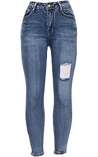 Ladies Women/'s Charcoal Grey /& Black Diamonted Slim Fit Denim Jeans Smart Pants