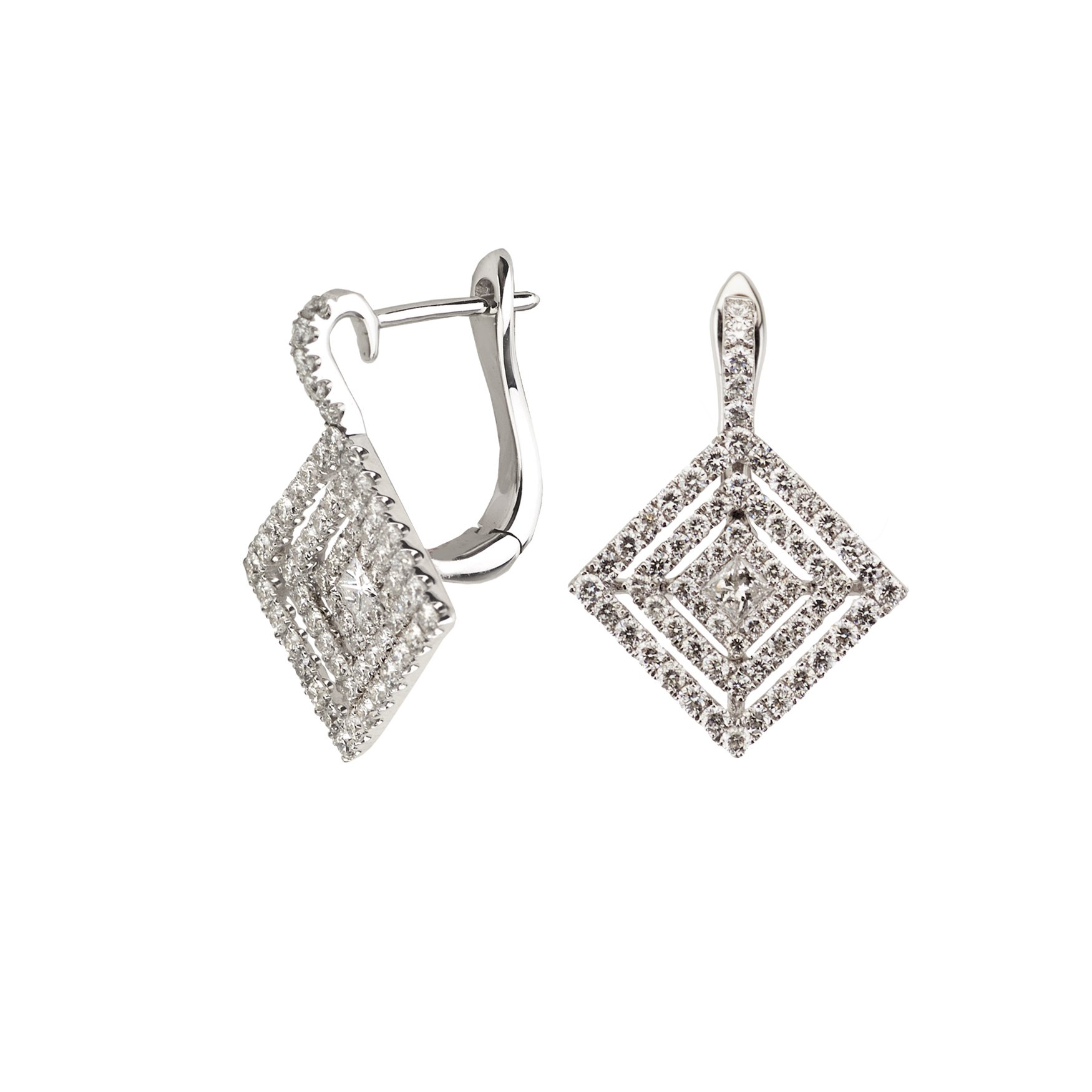 18k White Gold Square Diamond Earring with 1.08 Cttw Diamonds G-H Color VS2-SI1 Clarity