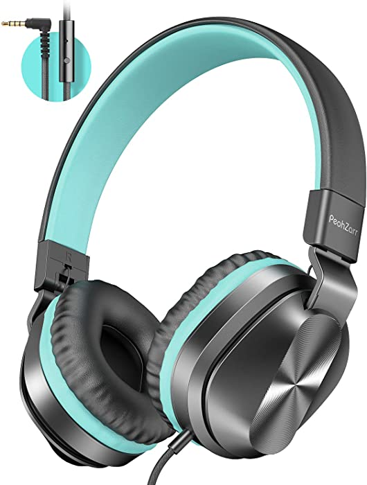 PeohZarr On-Ear Headphones with Microphone, Lightweight Folding Stereo Bass Headphones with 1.5M Tangle Free Cord, Portable Wired Headphones for Smartphone Tablet Laptop Computer MP3/4-Mint