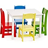 Phoenix Home Fermo Kid's White Wood Table and Primary-Color Chair Set (Red, Yellow, Green, Blue)
