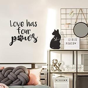 Vinyl Wall Art Decal - Love Has Four Paws - 16