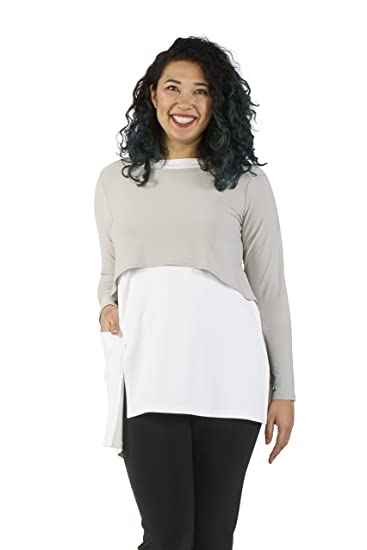 dbbc4e67838 Sympli Women's Shorty Top~Oatmeal (Oatmeal, 8-Long Sleeve) at Amazon Women's  Clothing store: