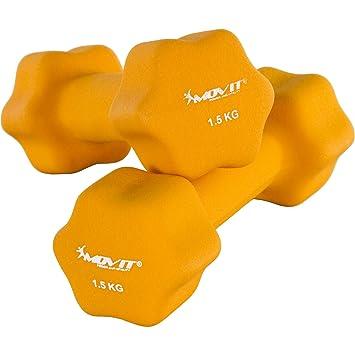 Movit Par de Mancuernas Recubiertos de Neopreno mancuerna de una Mano Pesas de 2 x 1,5 kg Naranja: Amazon.es: Deportes y aire libre