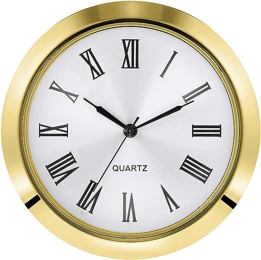1.8 Inch//45 mm HILLHOME Mini Quartz Clock Insert Round Quartz Clock Fit-up Movement Miniature Clock White Dial Gold Trim