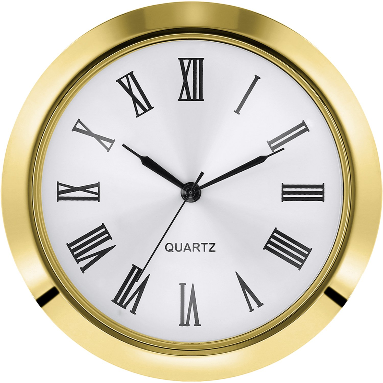 Hicarer 2-1/8 inch (55 mm) Quartz Clock Fit-up/Insert, Fit Diameter 1-7/8 to 2 inch (48-50 mm) Hole, Zinc-Alloy Metal Case, Roman Numeral (Gold)