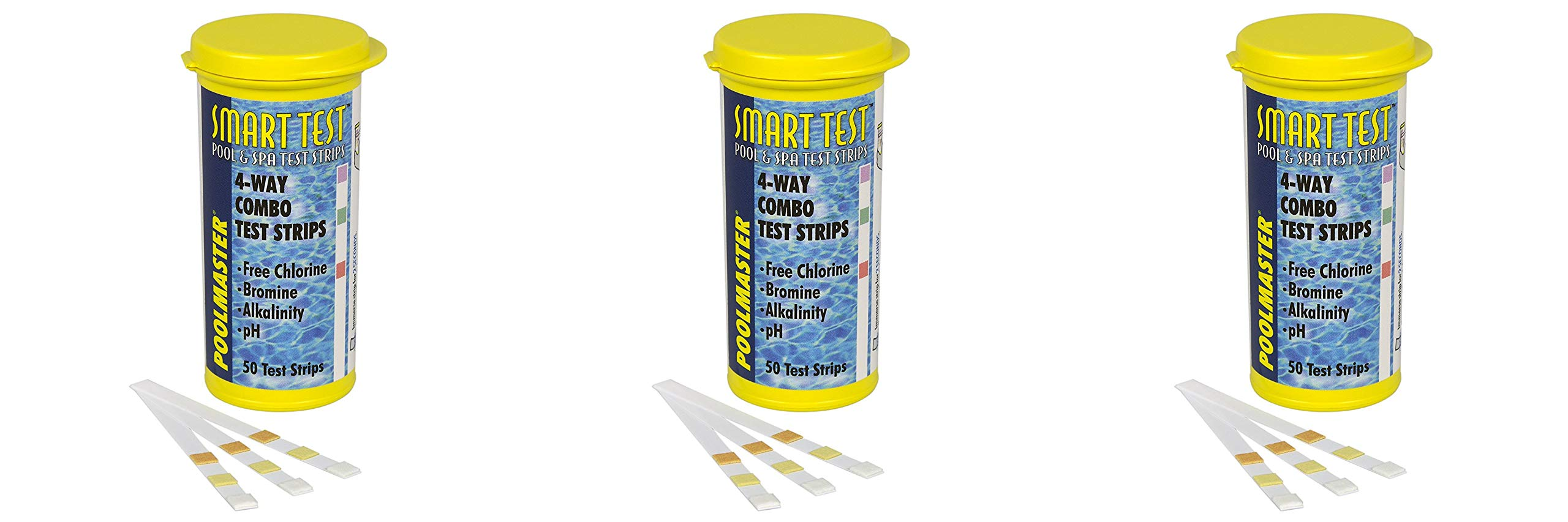 Poolmaster 22211 Smart Test 4-Way Swimming Pool and Spa Water Chemistry Test Strips, 50 Count - Pack 3 by Poolmaster