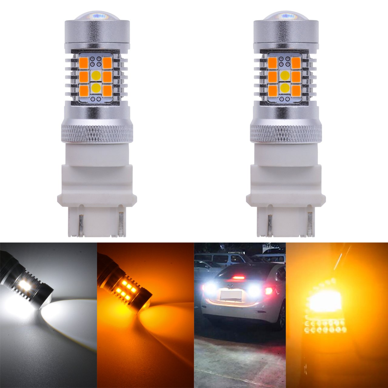 KaTur 3157 3155 3457 3057 4057 Extremely Bright Amber/White Dual Color Switchback Turn Signal LED Light Bulbs 2835 21SMD Lens Brake LED Light 10.5W DC 12V 6500K (Pack of 2) 2AM-CL-1210-3157-W/A