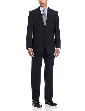 Calvin Klein Men's Mini Black Pinstripe Slim-Fit Suit at Amazon