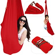 Happybuy Therapy Swing Red Sensory Hammock Swing Up to 220lbs Cuddle Hammock with Carabiner for Kids with Special Needs by Inyard for Therapy Autism ADHD Aspergers Ideal for Sensory Integration