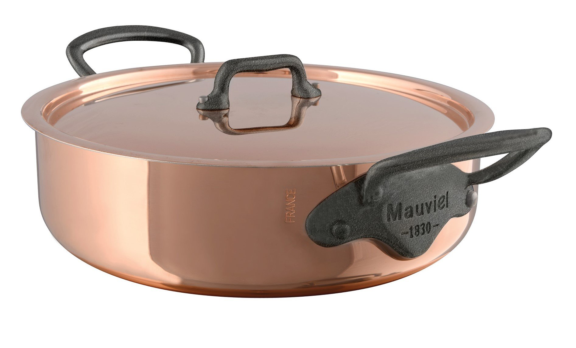 Mauviel M'Heritage M150C 6480.25 Copper Rondeau/Covered Casserole with Lid. 2.9L/3.1 quart 24cm/9.5'' with Cast Stainless Steel Iron Eletroplated  Handle