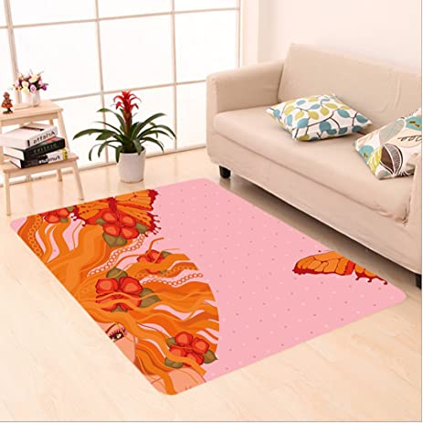 Amazon.com: Nalahome Custom carpet ct Young Girl with Flowers on Her ...
