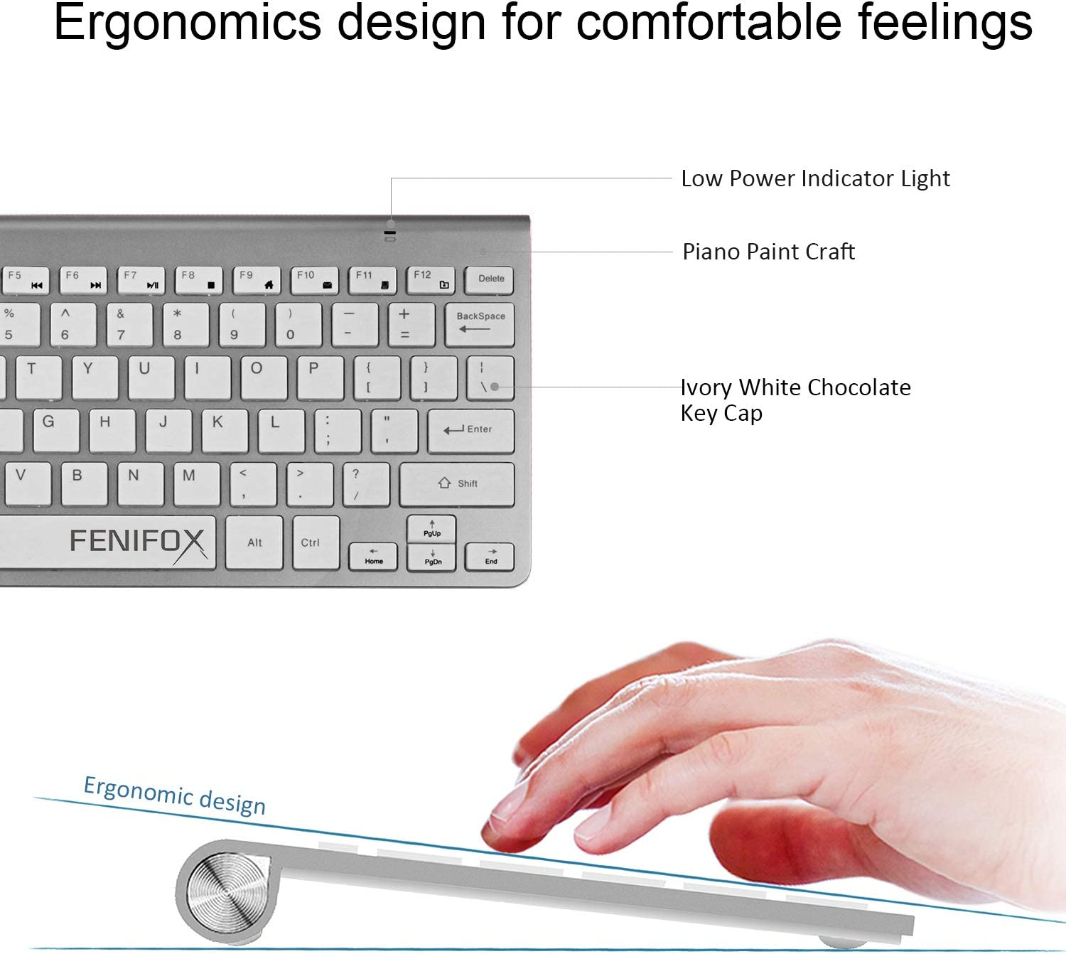 Silver and White Wireless Keyboard and Mouse,FENIFOX USB Mini Small Thin Quiet,Compatible with PC Laptop Computer Tablet