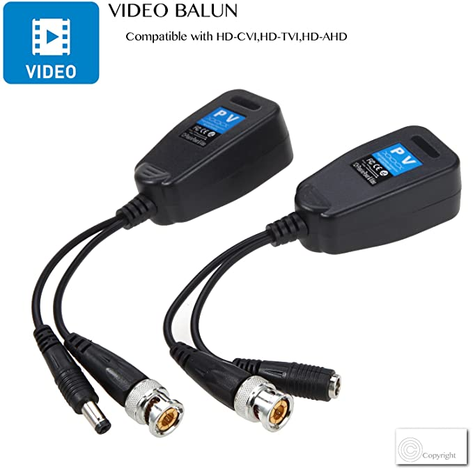 VIMVIP HD-CVI/TVI/AHD pasiva Video Balun con conector de alimentación y RJ45 CAT5 – Cable transmisor de datos 1 par: Amazon.es: Electrónica