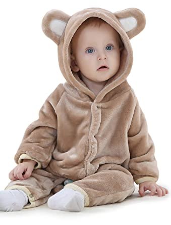 4d8760fa9 Adorel Baby Hooded Romper Flannel Jumpsuit Onesie: Amazon.co.uk: Clothing