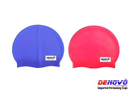 DeNovo Swimming Caps Set of 2  Red and Blue  Swimming Swim Caps