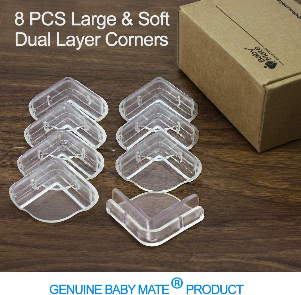 Up-Down Corner Cover Safety 2BS Dual Layer Buffer Structure Soft Table Corner Guards Child Proof Furniture Corner Safety Bumpers Baby Mate 8 PCS 1.6 Large Clear Table Corner Protectors for Baby