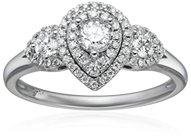 14k White Gold Diamond Three Stone Pear Shaped Engagement Ring 1