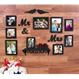 Art Street - Love Birds Set of 9 Wall Photo Frame Couples Including MDF Plaque (2 Birds, Mr & Mrs) and 1 PVC Wall Shelf