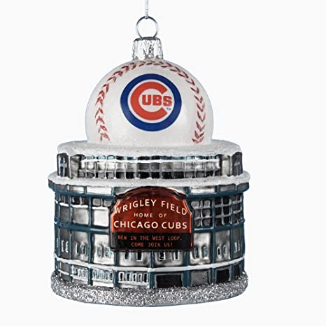 Cubs Christmas Ornaments.Chicago Cubs Kurt Adler 3 3 4 Inch Glass Wrigley Field With Baseball Figural Ornament
