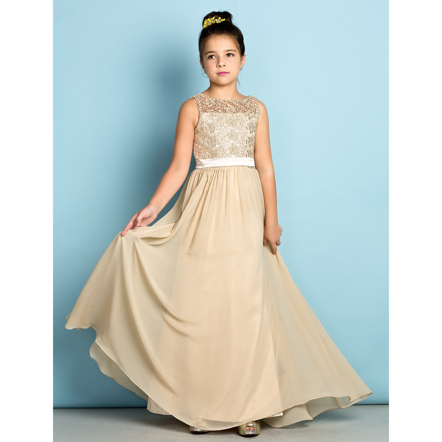 Amazon.com: Lanting Bride Flower Girl Dresses Floor-length Chiffon ...