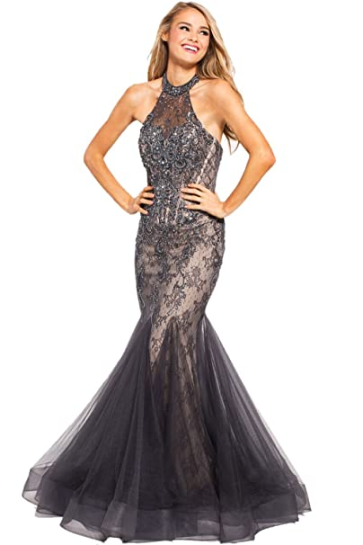 a9bd6359d7456d Jovani Prom 2018 Dress Evening Gown Authentic 55261 Long Charcoal at Amazon  Women s Clothing store