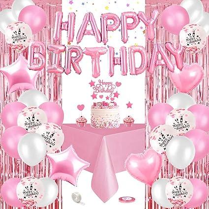 Specool Geburtstagsdeko Rosa Happy Birthday Girlande Rosa Rosa Konfetti Ballons Banner Set Mit Geburtstag Dekoration Folien Luftballons Tischdecke Glitzer Vorhang Für Mädchen Freundin Tochter Spielzeug