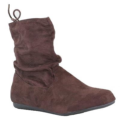 Beston Forever Selena-51 Women's Stylish Slouch Side Zipper Flat Heel Mid Calf Boots | Mid-Calf
