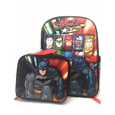 "16"" Justice League Bookbag School Backpack Lunch Box SET"