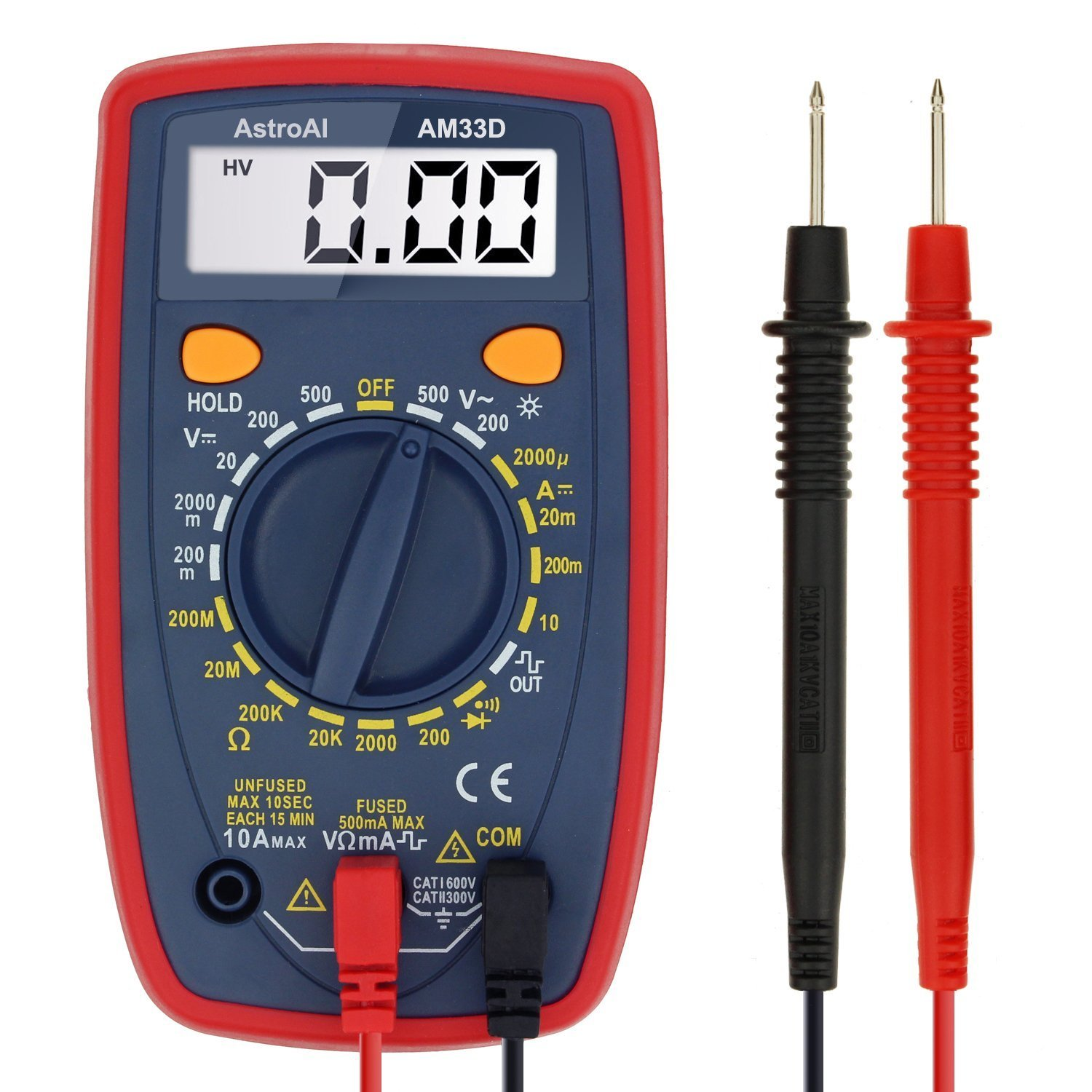 Best Rated In Multi Testers Helpful Customer Reviews Meter And A Capacitance At Home Homemade Circuit Projects Astroai Digital Multimeter With Ohm Volt Amp Diode Voltage Tester Product Image