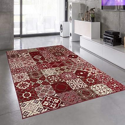 un amour de tapis grand tapis salon et salle a manger tapis salon moderne design graphique carreaux de ciment poils ras tapis salon rouge