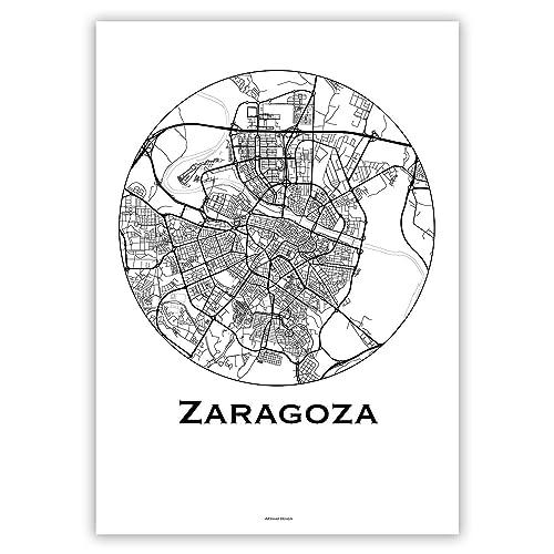 Cartel Zaragoza España Minimalista Mapa - City Map, decoración, regalo: Amazon.es: Handmade