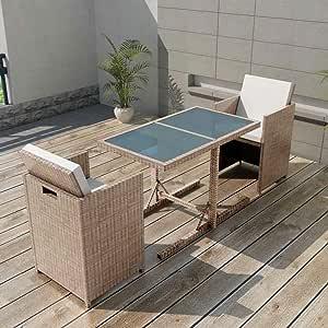 Tidyard Conjunto Muebles de Jardín de Ratán 7 Piezas Sofa Jardin Exterior Sofas Exterior Conjunto Jardin para Jardín Terraza Patio en Poli Ratán Gris y Beige: Amazon.es: Hogar