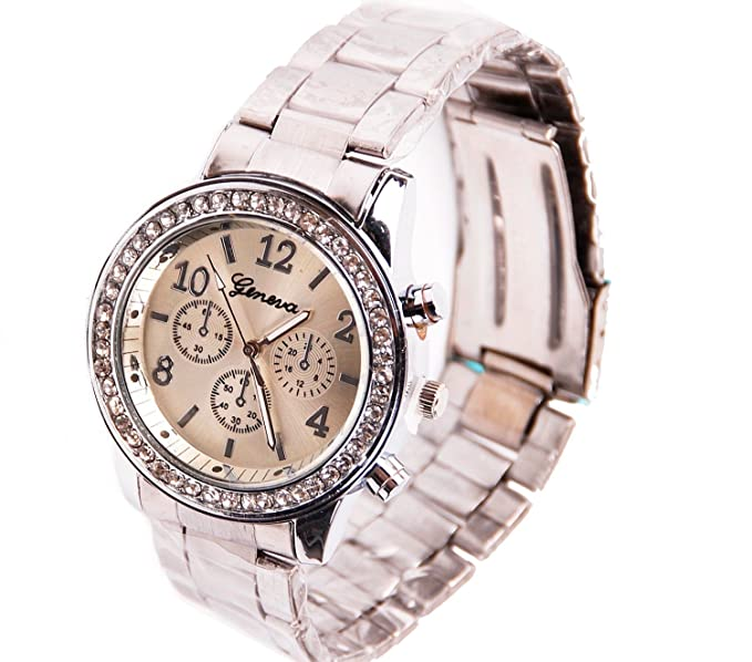Reloj De Pulsera Para Mujer, Plata Mujer Reloj cronógrafo con adornos de cristal | bañada