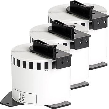 3x compatible Etiquetas continuas DK22205 blanco para Brother impresora de etiqueta QL1050 / QL1060 / QL500, QL550, QL560, QL570, QL580, QL650, QL700, ...