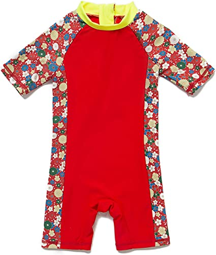 Baby Girls Sunsuit UPF 50+ Sun Protection One Pieces Short Sleeves Swimwear with Sun Hat(Red Flowers,24 36Months)