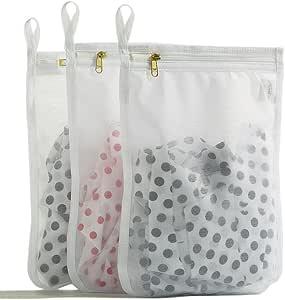 TENRAI Delicates Laundry Bags, Bra Fine Mesh Wash Bag for Underwear, Lingerie, Bra, Pantyhose, Socks, Use YKK Zipper, Have Hanger Loops, Small Openings (White, 3 Small)