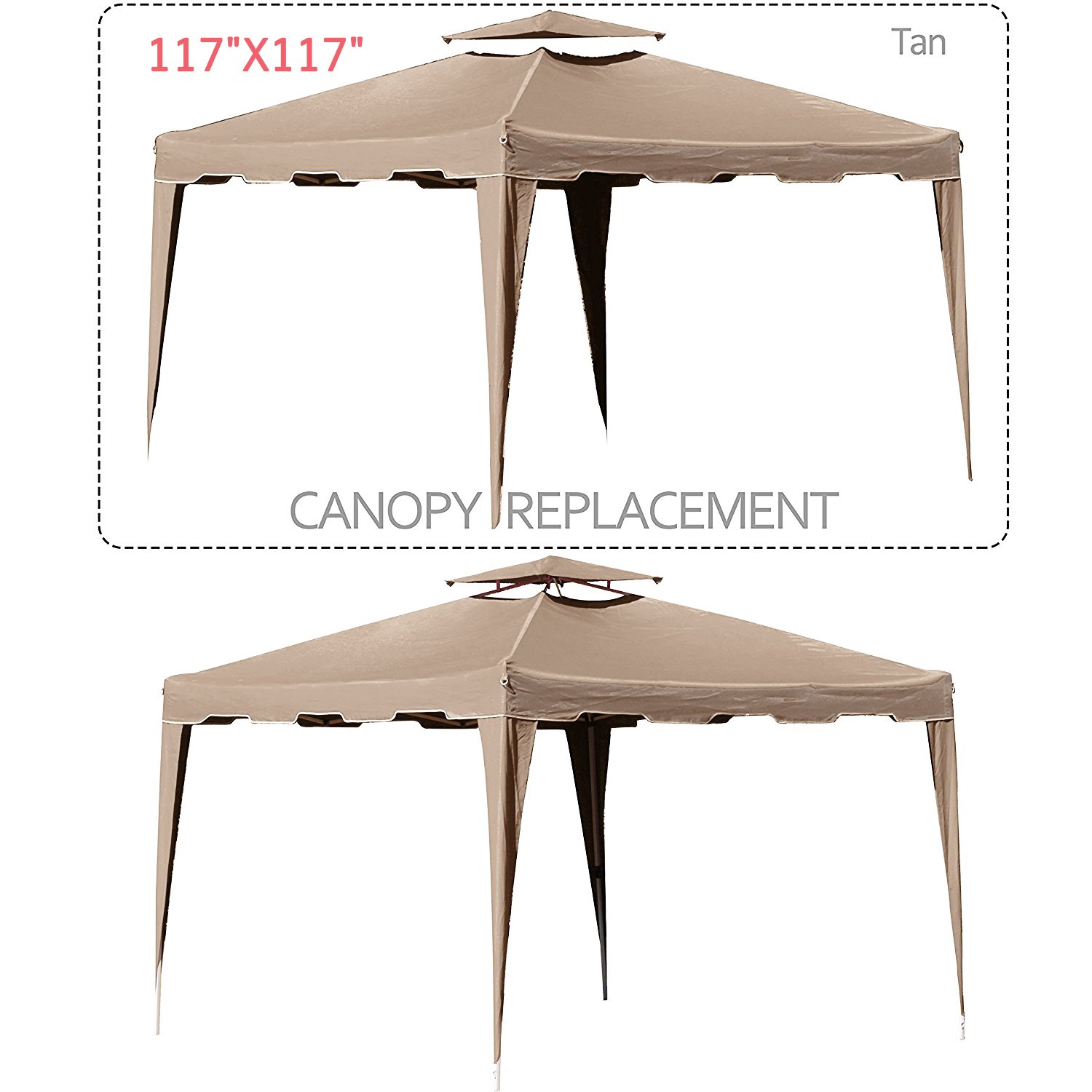 Cloud Mountain 117'' X 117'' Gazebo Replacement Canopy Top Cover, 2-tier UV Protect Resist Light Rain for Outdoor Patio Lawn Sun Shade Tent, Tan (Only Replacement Cover)