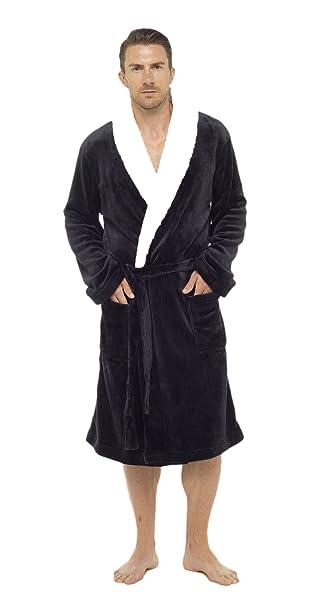 De lujo para hombre con capucha albornoz Super suave polar bata albornoz albornoz con detalle de ...