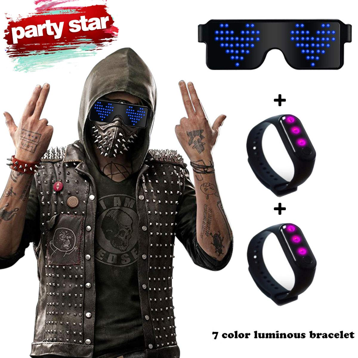 RICISUNG Trustworthy 2019 LED Sunglass,Flashing Cool Party Light up Glasses can work in 8 Animation Modes for 10 Hours,For Nightclubs, DJ, Halloween, Birthday Parties, New Year's party Supplies (Blue)